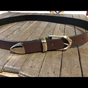 Brown Leather Belt Women's Size L Calvin Klein
